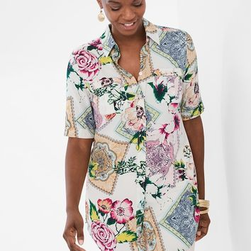 Chico's Silky Soft Floral Tiles Tunic