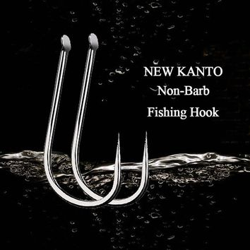 50pcs/lot Fishing Hooks New KANTO High Carbon Steel Non-Barbed Extremely Shape Crucian FishHooks Fishing Accessories Tackles