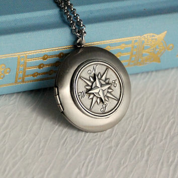 Vintage Silver Compass Locket Necklace, nautical pendant message photo travel jewelry Birthday Graduation Anniversary Mothers Day
