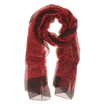 saint laurent - animal print silk and cashmere scarf