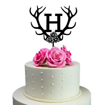 Personalized Birthday Cake Topper Initial Antler Deer