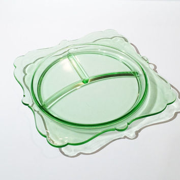 Green Depression Glass Plate, Divided Plate, Depression Glass Snack Tray