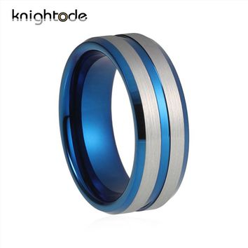 New Silver Blue Tungsten Ring For Men Women Wedding Band Tungsten Carbide Jewelry Brushed Polished Grooved Center