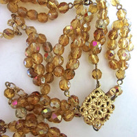 Art Deco Amber Glass Beads Czech Necklace, Double Strand, AB Coated, Vintage