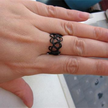 R290 Black Stretch Tattoo Finger Rings Handmade Fashion Jewelry Punk Retro Elastic Gothic Anel Anillos Bijoux