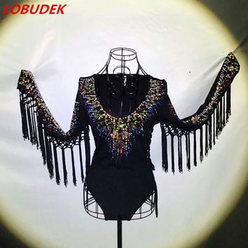 Colorful Diamond tassel stones sexy female costume crystals singer dancer nightclub Bar show performance star party bodysuit