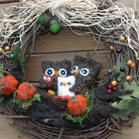 Fall, Thanksgiving, Christmas Owl Woodland Family 12 inch Wreath, Pumpkins, Jingle Bells, Santa Hats Custom Personalized... made to order...