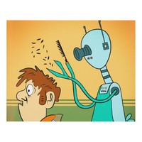 Funny Robot Hair Stylist Panel Wall Art