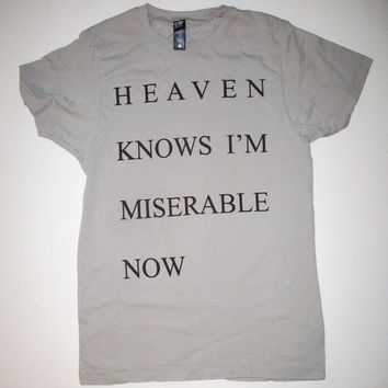 Heaven Knows I'm Miserable Now Silver T Shirt S, M, L, XL the smiths morrissey