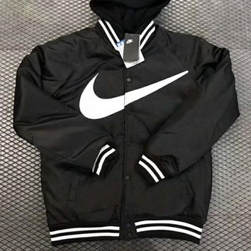 NIKE Fashion Casual Women Print Logo Long Sleeve Wool Zipper Coat Black G-MG-FSSH