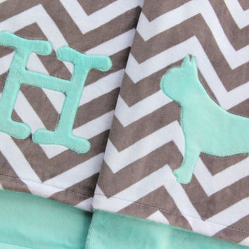 French Bulldog Baby Blanket, Minky Frenchie Blanket, French Bulldog Blanket, Crib Blanket, Minky Crib Blanket, Chevron Crib Blanket