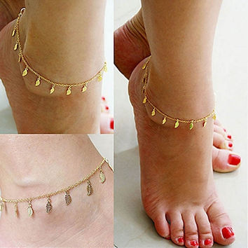 Fashion Gold Chain Anklet Leaf Type Bracelet Foot Ankle Women Lady Jewelry Elegant (Size: 25 cm, Color: Golden) (With Thanksgiving&Christmas Gift Box)= 1958220356