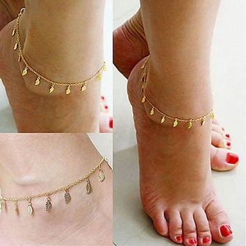 Fashion Gold Chain Anklet Leaf Type Bracelet Foot Ankle Women Lady Jewelry Elegant (Size: 25 cm, Color: Golden) = 1958220356