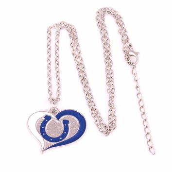 Indianapolis Colts NFC  Drop shipping Enamel single-sided Swirl Heart Football team logo charm with link chain sports Necklace