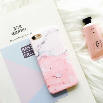 New Glossy Granite Lovely Pink Patchwork Color Marble Phone Case For iPhone 7 7plus 6s 6 6Plus 6splus Soft TPU Cases Back Cover -0318