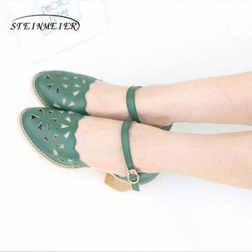 Women genuine leather heel sandals female 5cm thick heel Handmade pink beig buckle strap carving oxford shoes blue sandals