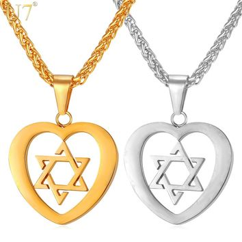 U7 New Heart Jewelry Magen Star of David Pendant Necklace For Women Gold Color Stainless Steel Necklace For Love P907