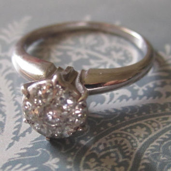 Vintage VS .75 ctw Diamond Engagement Wedding Ring Daisy Flower Cluster Flower Ring Promise Ring 14k White Gold Art Deco