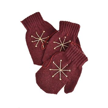 Knitted Snowflake Mitten Christmas Ornaments, Burgundy, 4-Inch, 3-Piece