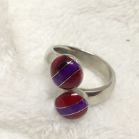 Multi Stone Mosaic Inlay Adjustable Ring Set in Fine Silver Authentic Artisan Handcrafted Bloodstone, & Amethyst Mosaic Silver Ring 925