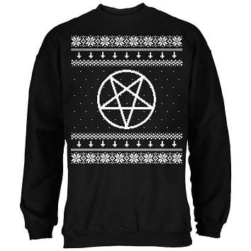 White Satanic Pentagram Ugly Christmas Sweater Black Adult Sweatshirt