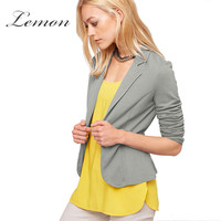 Lemon New Fashion Women Blazer Solid 3 Colors Casual Turn Down Collar Female Blazer Basic Slim Fit Single Button Suit Blazer