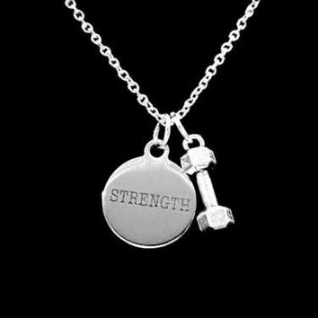 Strength Dumbbell Barbell Inspirational Fitness Motivational Strong Necklace