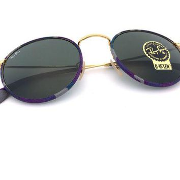 Gotopfashion *New* Ray-Ban Round Camouflage Multicolor Gold Frame Green Lens RB3447JM 172 50