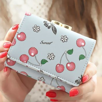 Women Wallet Korean Fashion Cute Leather Wallet Cherry Printed Small Women Purse Carteira Feminina Cion Pocket Card Holder