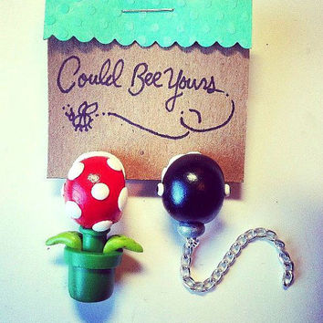 Ear Biting Piranha Plant and Chain Chomp Super Mario Nintendo Earrings