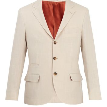 Single-breasted wool and linen-blend blazer | Brunello Cucinelli | MATCHESFASHION.COM UK