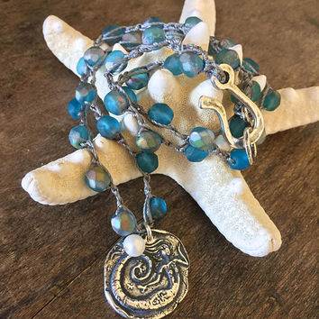 Mermaid Crochet Necklace, Sea Siren, Rustic Silver, Beach Chic, Opalescent Blue Beaded Beach Boho Jewelry by Two Silver Sisters