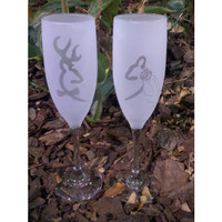 Browning Deer Bride and Groom Sandblast Frosted Wedding Champagne Flutes, Toasting Glasses
