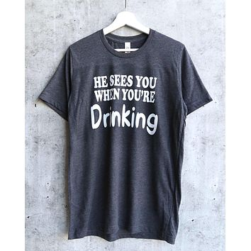 4e4bc546e distracted - he sees you when you're drinking christmas unisex g. shirts ...