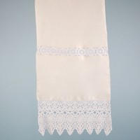 """Decorative Linen and Lace Hand Towel 16 x 36"""""""