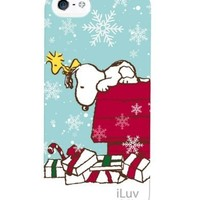iLuv Peanuts Snoopy Christmas Hardshell Case for Apple iPhone 5/5s - 1 Pack - Retail Packaging (Christmas Present - Blue)