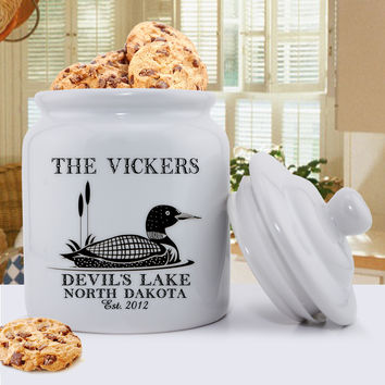 Personalized Cabin and Lake Loon Cookie Jar