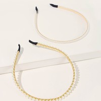 Faux Pearl Decor Headband 2pcs