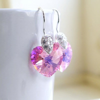 Pink Swarovski Crystal Heart Earrings CZ Sterling Silver Dangle Valentines Violet Bridesmaid Jewelry Wedding Jewelry