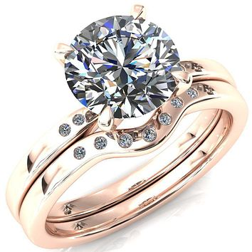 Maise Round Moissanite 4 Prong Diamond Accent Engagement Ring