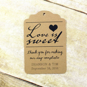 Wedding favour tags, love is sweet personalized party favour tags, bridal shower favours, cupcake topper