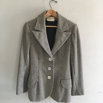 SALE Vintage Adolfo blazer Houndstooth jacket / black and white plaid blazer wool jacket