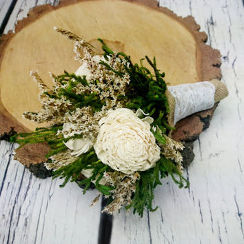 Small ivory green brown rustic wedding BOUQUET, Sola Flowers, preserved cypress, Burlap, Lace, Bridesmaids, toss, cheap bouquet
