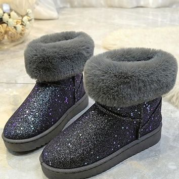 New Silver Round Toe Flat Faux Fur Sequin Fashion Ankle Boots