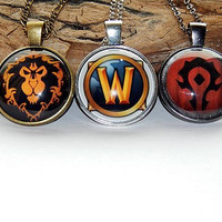 World of Warcraft Horde WOW Alliance Logo pendant necklace jewelry keychain, Horde WOW Alliance symbol emblem video game patch, mens jewelry