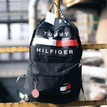 ONETOW Tommy Hilfiger Trending Fashion Casual Sport Laptop Bag Shoulder School Bag Backpack Black G