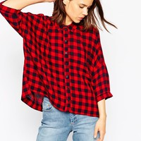 ASOS Crinkle Oversize Shirt in Red and Blue Gingham