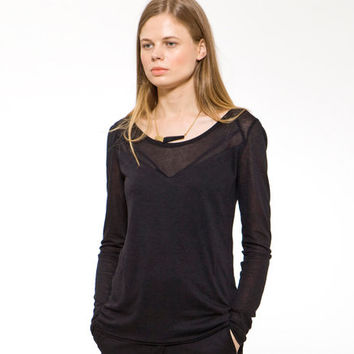 Black Basic Casual Long Sleeve Winter Tee