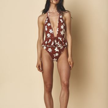 Chocolate Floral Pampas One-Piece