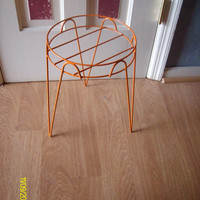 Orange Painted Metal Round Hairpin Plant Stand